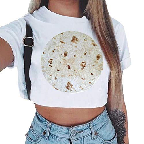 NCCIYAZ Womens Crop Top T-Shirt Mexican Chicken Roll Wrap Pie Print Short Sleeve Plus Size Ladies Fashion Shirt Blouse(S(4),White-Burnt) ()