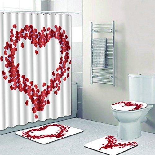 (R-ANSXYX 4 Piece Bathroom Set,Red Love Heart Waterproof Shower Curtain Non-Slip Contour Rug Toilet Lid Cover and Bath Mat)