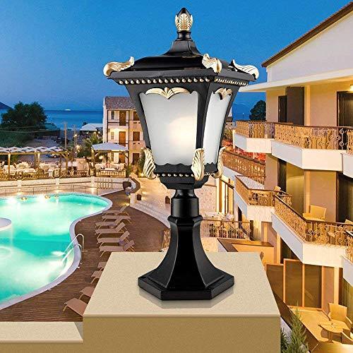 ZDYLL European Retro Industrial Outdoor E27 Pillar Lamp Waterproof Fence Column Lamp Courtyard Square Villa Garden Illumination Column Headlight (Use Square Bollard)