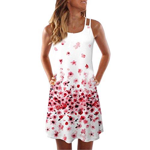 NEARTIME Women's Vintage Dress T-Shirt Dress Summer Sleeveless Boho Beach 3D Floral Print Casual Short Mini Dress