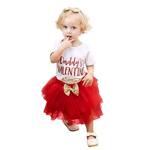 97cfde5af Amazon.com: 2018 Baby Girl Letter Romper Tops+Skirt +Headband Valentine's  Day Infant Outfits Set: Clothing