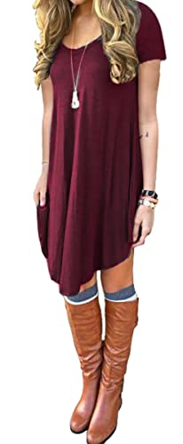 DEARCASE Women's Short Sleeve Casual Loose Fit T-Shirt Tunic Dress