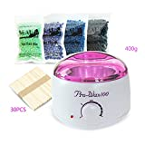 MEILI Electric Wax Warmer with 4 Packs Hard Wax Beans and 30 Applicator Sticks Home Waxing Kit
