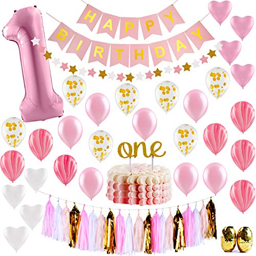 Baby Girl First Birthday Decorations - 1st Birthday Girl Decorations Pink and Gold Party Supplies - Happy First Birthday Banner, Number 1, Heart and Confetti Balloons, Premium ONE Cake -