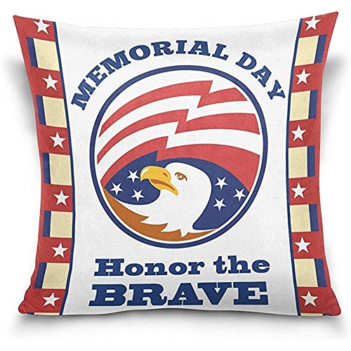 Dweobolufz Honor The Brave Memorial Day American Bald Eagle Stars Square Throw Pillow Case Cotton Velvet Cushion Cover 18x18 inch