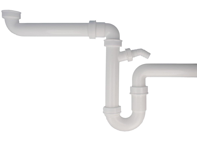 Tecuro saver spülen kitchen sink siphon odour trap with wall pipe diameter 40 mm new amazon co uk diy tools