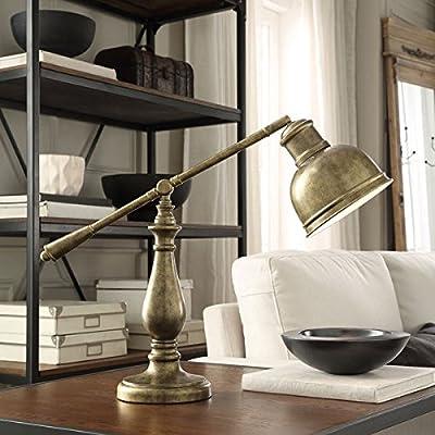 INSPIRE Q Maximus Metal Antiqued Brass 1-light Accent Desk Lamp