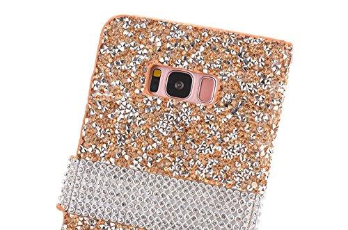 Vandot Funda para Samsung Galaxy S8 Plus Case 3D Bling Rhinestone Diamantes y Perlas Magnética Función de Soporte Funda Carcasa Stand Flip PU Cuero del Tirón Caja de la Cubierta - Amor del Corazón de  SM ZPT 02