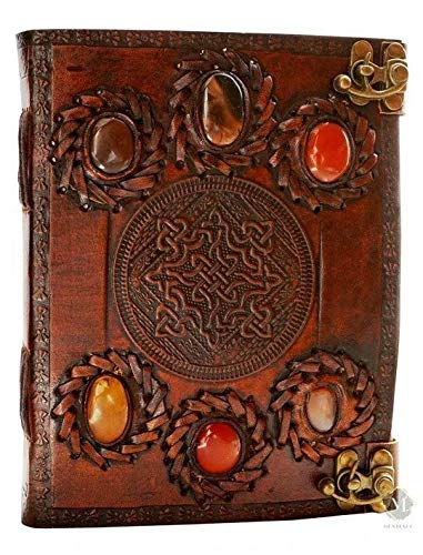 Six Stone Handmade Vintage Leather Bound Journal Notebook Diary Sketchbook With Lock For Men Women Blank Pages Old Antique