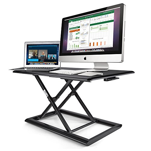 AboveTEK Compact & Solid Aluminum Standing Desk, 30'' Desktop Platform Height Adjustable w/Smooth Air Assist, Instant Sit Stand Converter & Dual Monitor Laptop Computer Riser at Home & Office (Black) by AboveTEK