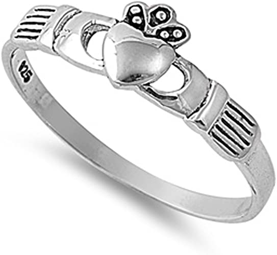 Sterling Silver Heart CZ Claddagh Ring Traditional Irish Knot Band Sizes 2-10