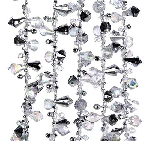 Kurt Adler Iridescent Silver Large Twinkle Ice Bead Garland 2pack (Large Image)