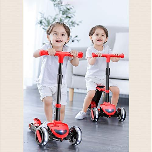 Patinete y bicicleta de equilibrio 2 en 1 SDSPEED para niños con asiento plegable, altura y inclinación ajustables, niños pequeños, niñas y niños, modo seguro, ángulo de dirección limitado, diseño seguro