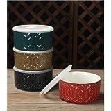 Food Storage Bowl with Lid, Set of 4, ORANGE/GOLD/BLUE/TEAL
