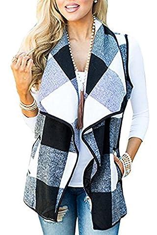 EastLife Womens Casual Sleeveless Open Front Asymetric Hem Lapel Plaid Tassel Drap Cardigan Vest with - Draped Sleeveless