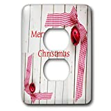 3dRose Christmas - Image of Merry Christmas Red Check Ribbon On Whitewash Wood - Light Switch Covers - 2 plug outlet cover (lsp_290319_6)