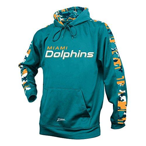 Aqua Print Fan (NFL Miami Dolphins Men's Zubaz Camo Print Accent Team Logo Synthetic Hoodie, Medium, Aqua)