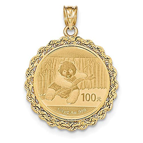 14K Yellow Gold Hand Made Rope Prong Bezel 1/4 oz. Panda Coin Holder (Coin Not Included) ()