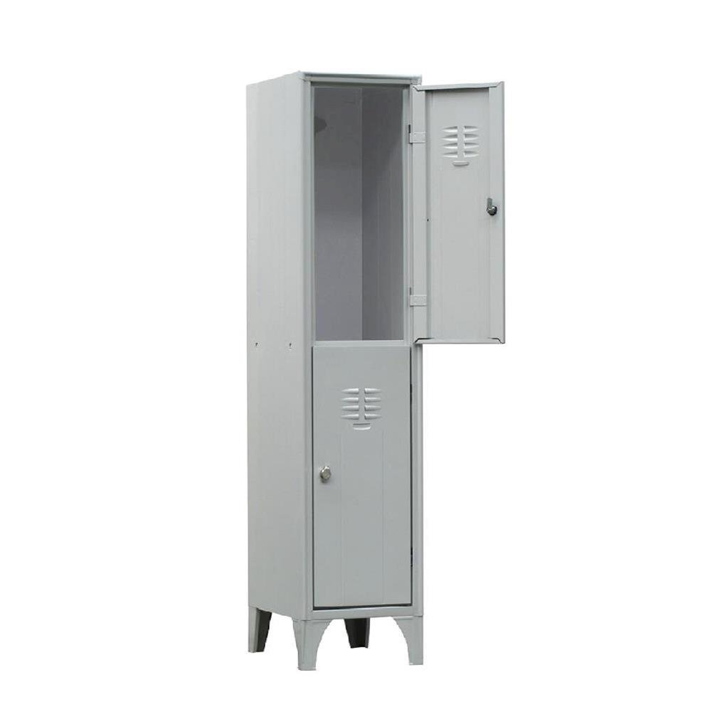 Armadio spogliatoio in metallo, 2 vani, Mis. 300 L x 500 P x 1800 H mm, serratura a cilindro con chiave PACK SERVICES SRL