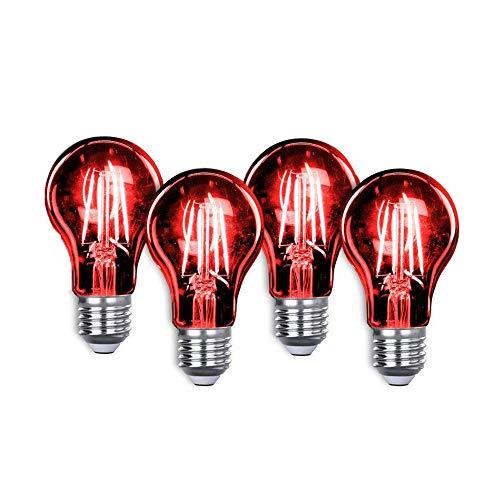 Led Light Bulb Bulb Edison LED A19 3.5 Watt E26 Medium Base 27,000 Hour Lifespan Clear Glass Lights up Red Saving Energy Dimmable 4 Pack (Red 4pack) ()