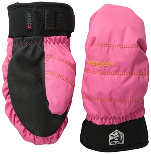 (Hestra Ski Mittens for Kids: Youth All Mountain Waterproof C-Zone Primaloft Winter Cold Weather Gloves, Fuchsia, 7)