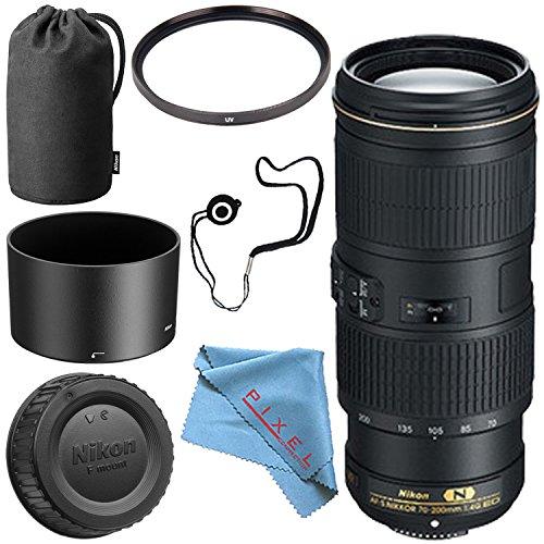 Nikon AF-S NIKKOR 70-200mm f/4G ED VR Lens + 67mm UV Filter + Fibercloth + Lens Capkeeper Bundle