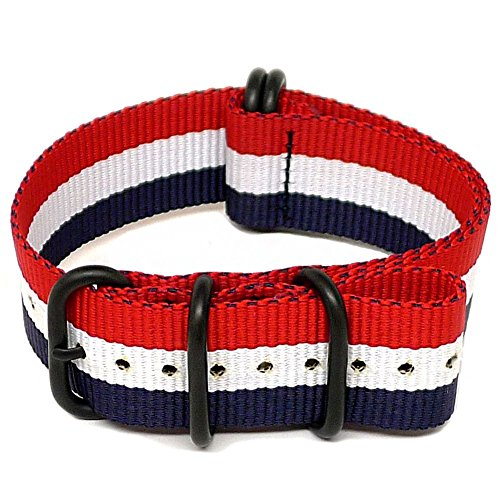 DaLuca Ballistic Nylon NATO Watch Strap - Red-White-Blue (PVD Buckle) : 24mm