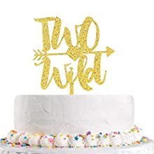 Wild Two With Arrow Cake Topper - 2nd Birthday Cake Topper - Baby Birthday Baby shower Party Decorations