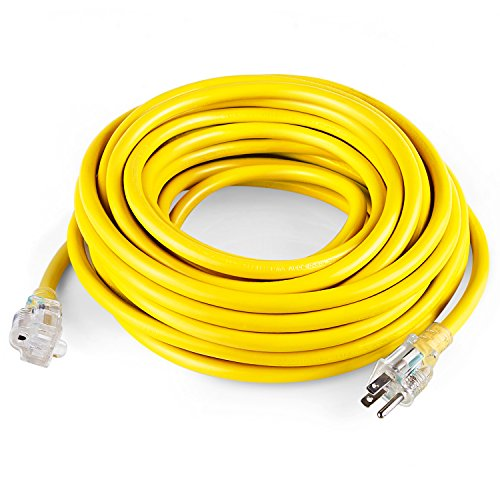 SIMBR 12/3 50 FT Extension Cord Outdoor, Heavy Duty Electrical Cord 12 Gauge Lighted, 15 Amps, 1875 Watts, UL Listed, SJTW, Yellow (50 (Heavy Duty Electrical)