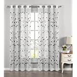 Window Elements Wavy Leaves Embroidered Sheer Extra Wide 54 x 84 in. Grommet Curtain Panel, Sage