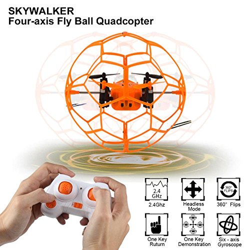 Qsmily Mini Drone Helic Max Sky Walker 1340 2.4GHz 4CH Fly Ball RC Quadcopter 3D Flip Roller Headless Mode Drone RC Helicopter Toys by Qsmily