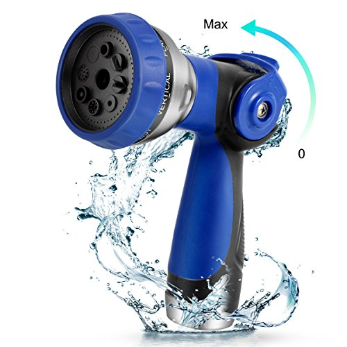 Minuano Garden Hose Nozzle,Spray Nozzle Anti-Leak,Water Hose Nozzle No-Squeeze,High Pressure Gun Sprayer with 8 Spray Patterns Heavy Duty,Flow Control 0-Max,for Plants,Car Washing & Showing Pets