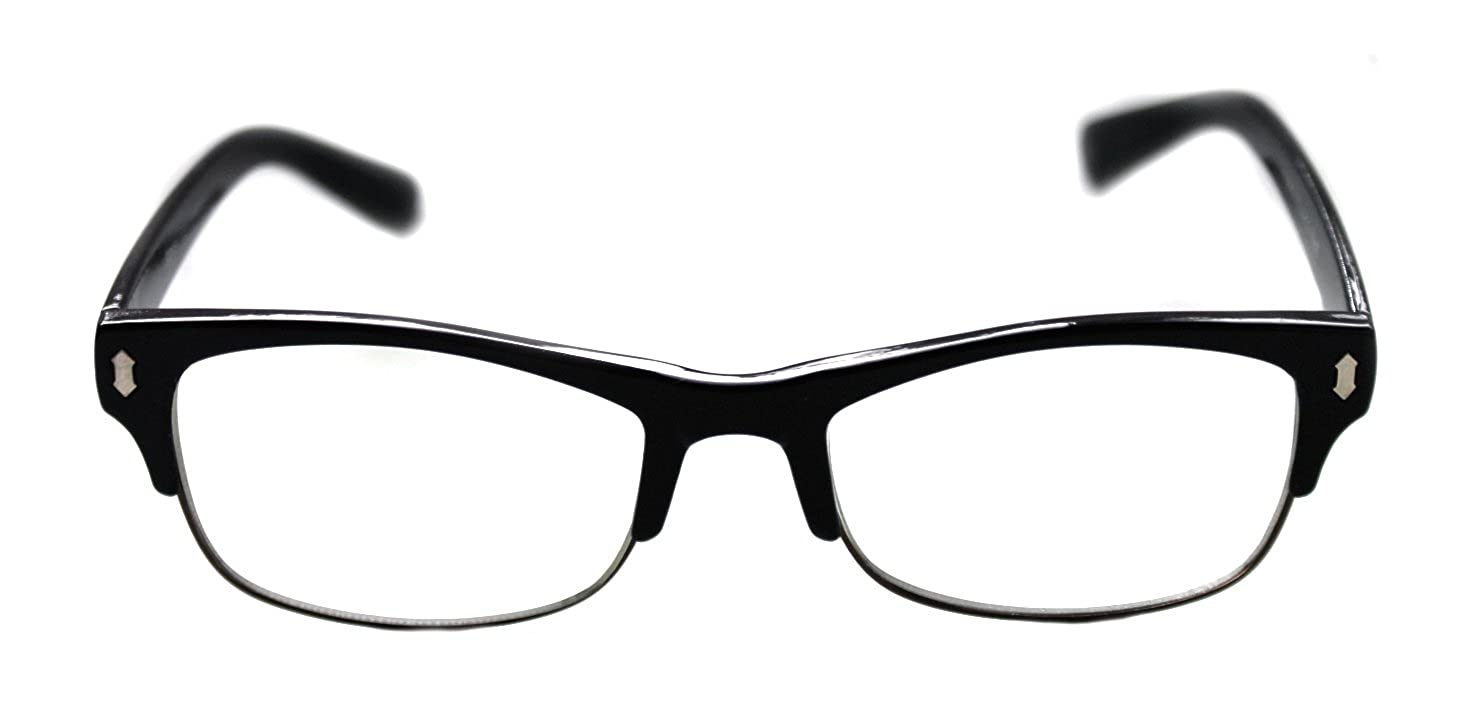 6e5e92fd322a6 Amazon.com  Men s Small Rectangular Clubmaster Designer Nerd Half Shell  Lens Eye Glasses Fashion (Black)  Clothing