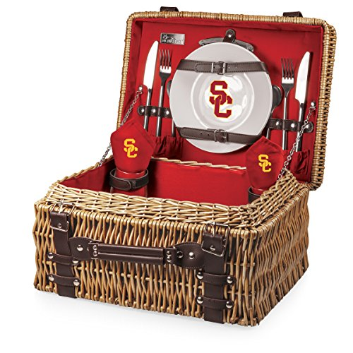 NCAA USC Trojans Champion Picnic Basket with Deluxe Service for Two, Red