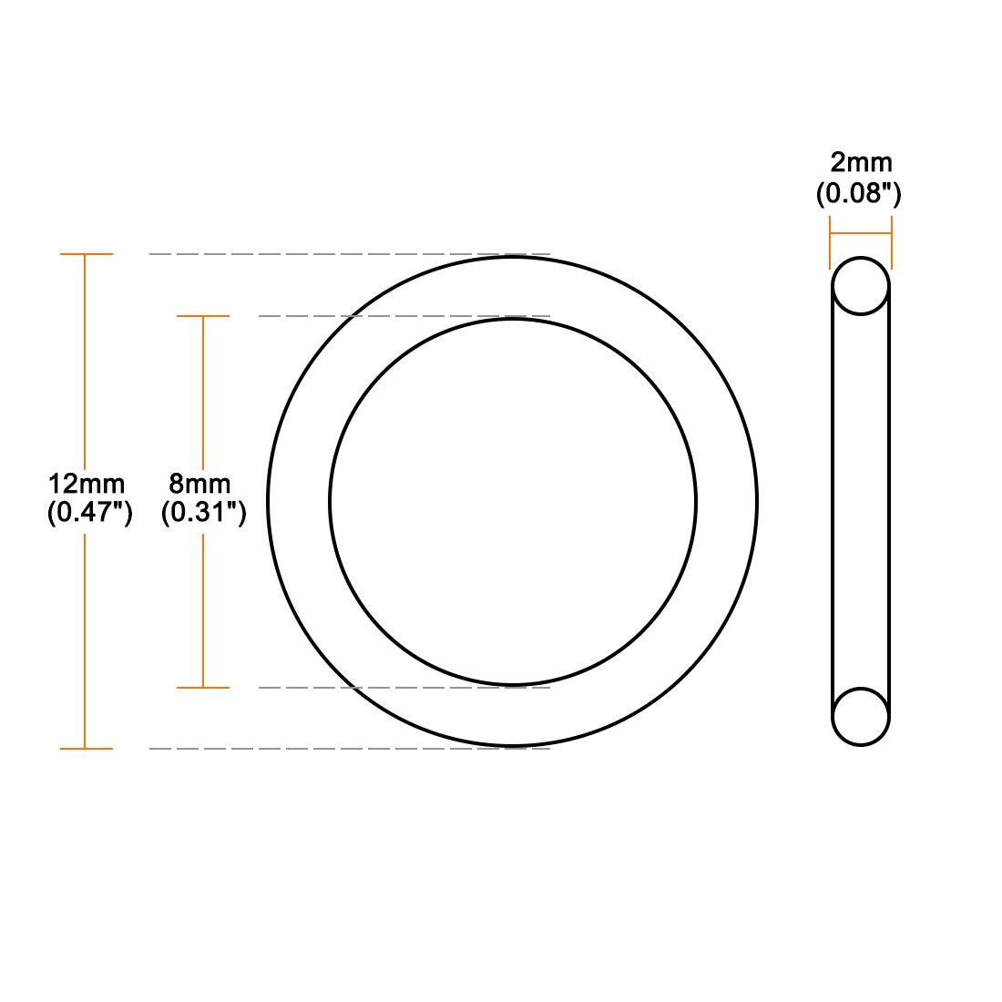 sourcing map Joint torique en caoutchouc nitrile 8mm x 12mm x 2mm Joint d/étanch/éit/é 50pcs