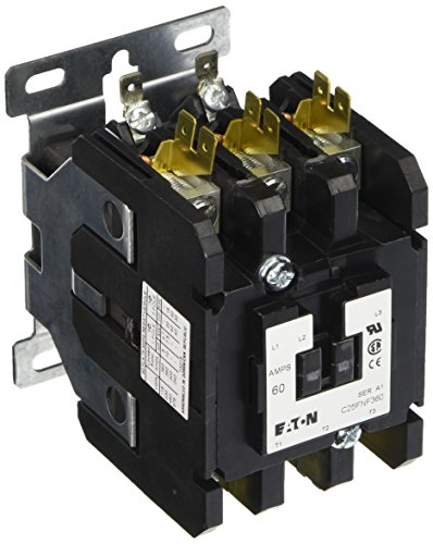 Pole 480vac Contactor Coil Single (Eaton C25FNF360B Definite Purpose Contactor, 50mm, 3 Poles, Box Lugs, Quick Connect Side By Side Terminals, 60A Current Rating, 5 Max HP Single Phase at 115V, 20 Max HP Three Phase at 230V, 40 Max HP Three Phase at 480V, 208-240VAC Coil Voltage)