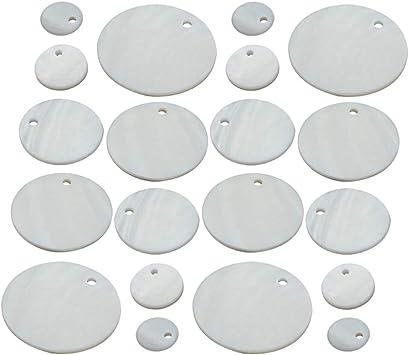Exceart - Abalorios de concha redonda natural con forma de ...