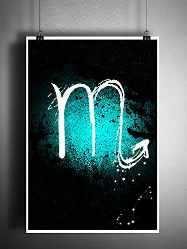(Zodiac sign Scorpio art print, scorpion constellation astrology art, Blue water element sign)