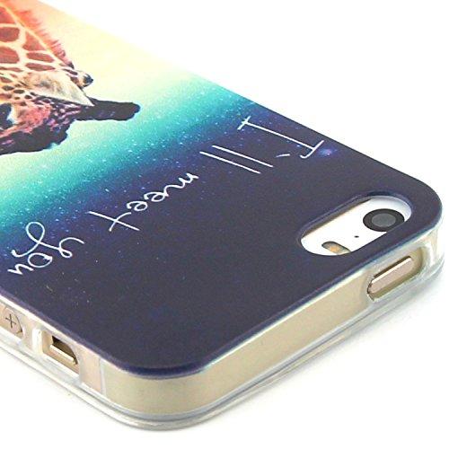 Fashion Coque pour Apple iphone 5/5s, Crystal Housse en Soft TPU Gel Silicone pour iphone 5s, iphone 5 Flexible Souple Cas Back Case Cover de Protection, Ultra Slim Créatif Dessin Couleur Motif de Rai