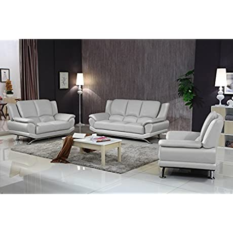 Milano Leather Sofa Set Gray