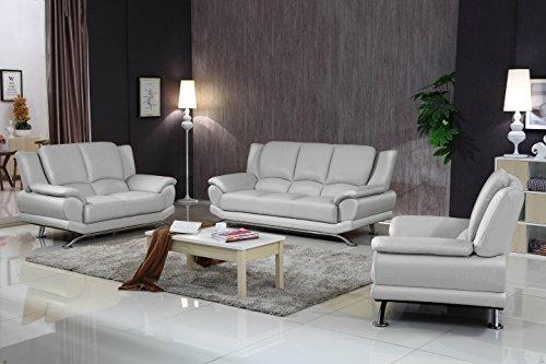 Milano Leather Sofa Set (Milano Leather Sofa Set (Gray))