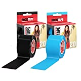 RockTape Kinesiology Tape for Athletes - 2-Roll Gift Pack, H2O Black/H2O Blue