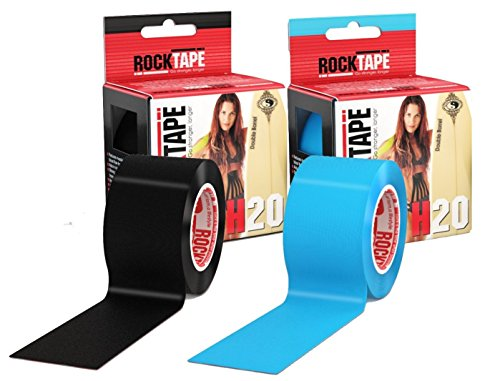 RockTape Kinesiology Tape for Athletes - 2-Roll Gift Pack, H2O Black/H2O Blue (Gift Pack Delivery)