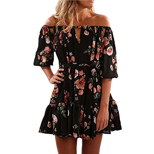 Sunbona Women's Sexy Chiffon Floral Print Off Shoulder Blouse Tops Casual Ladies Party Blouse T-Shirt Tops (Asian Size:L, Black) by Sunbona
