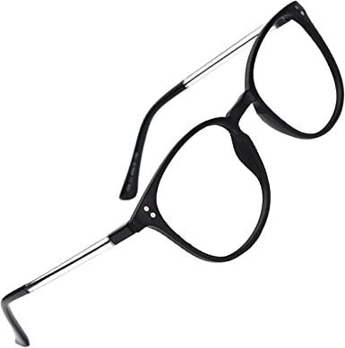 slocyclub Unisex Super Light Keyhole Full Rim Classic Eyeglasses Frame with Transparent Temples