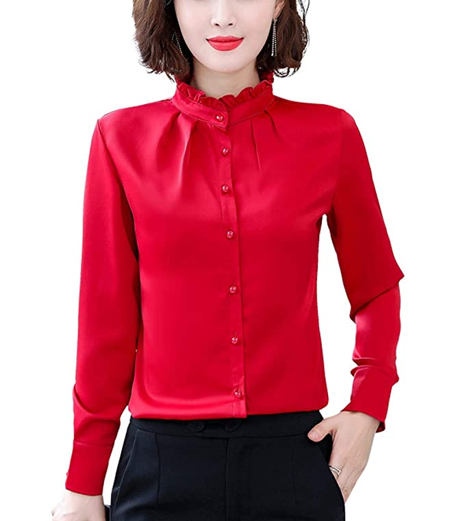 1950s Rockabilly & Pin Up Tops, Blouses, Shirts Women Vintage Pleated Collared Button Down Shirt Long Sleeve Blouse Stretch $18.99 AT vintagedancer.com