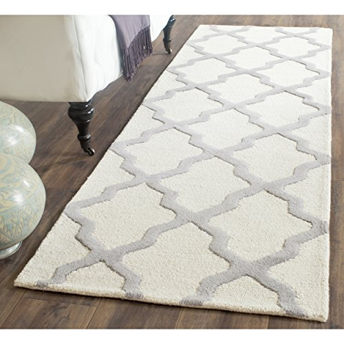 Safavieh Cambridge Collection CAM121Y Handmade Moroccan Geometric Ivory and Silver Premium Wool Runner (2'6 x 22′)