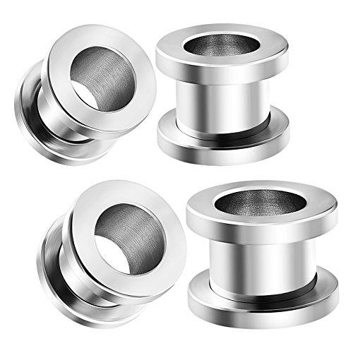 Steel Gauge Sizes - 2 Pairs 316L Surgical Steel Gauges Size 00 g 9mm 00g 10mm Screw-fit Flesh Tunnels Piercing Stretching Lobe Ear Plugs BG1125