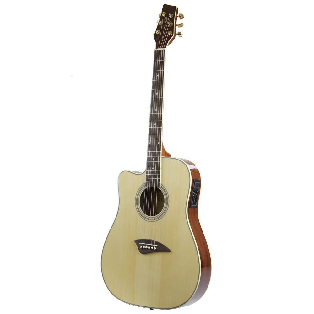 Kona K2LN Left-Handed Acoustic Electric Dreadnought Cutaway Guitar in Natural High Gloss Finish