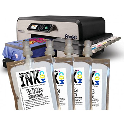 DuPont White ink Bag 4-pack for the Anajet mPower MP5 and MP10 by Garment Printer Ink